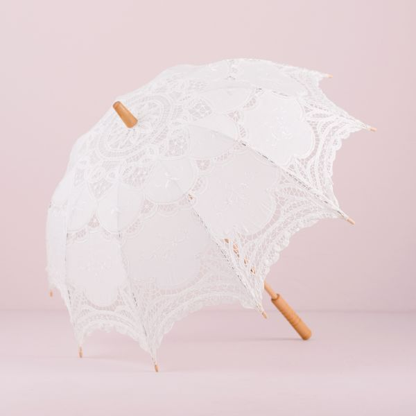 White Battenburg Lace Parasol - Standard