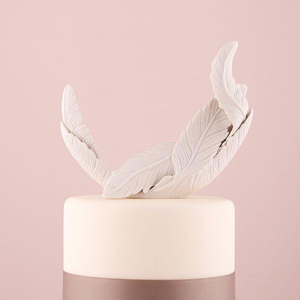 White Feather Porcelain Wedding Cake Topper