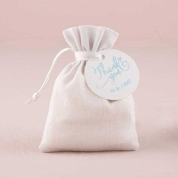 White Linen Drawstring Favor Bag White