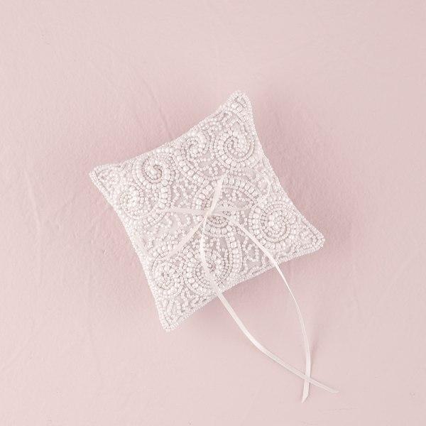 White Beaded Miniature Wedding Ring Pillow White