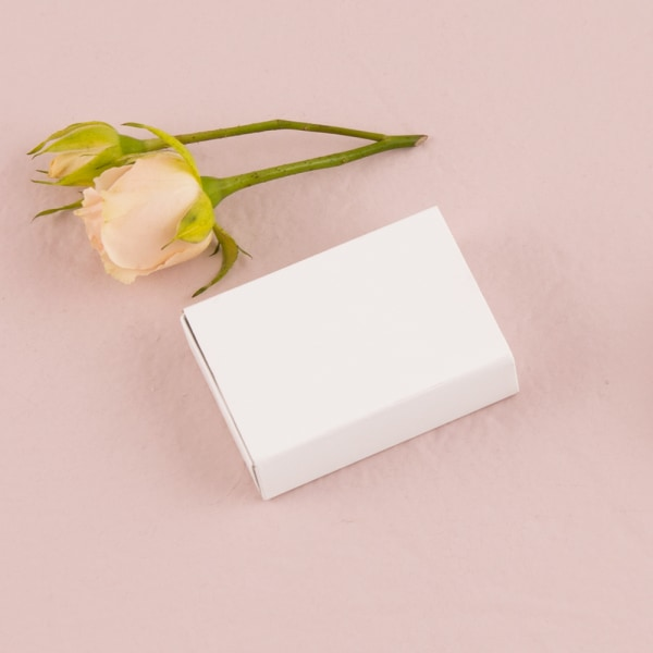 White Matchbox Drawer Style Favor Box With Floral Dreams Personalized Wrap