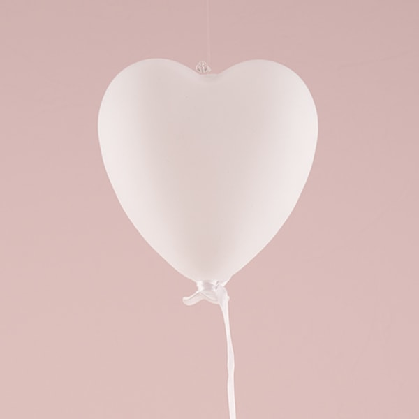 White Blown Glass Hanging Heart Decoration - Large White