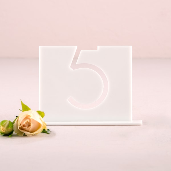 White Acrylic Table Number - Top Aligned Style