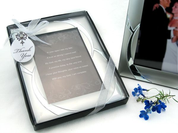 Double Ring Romance Brushed Photo Frame Favor