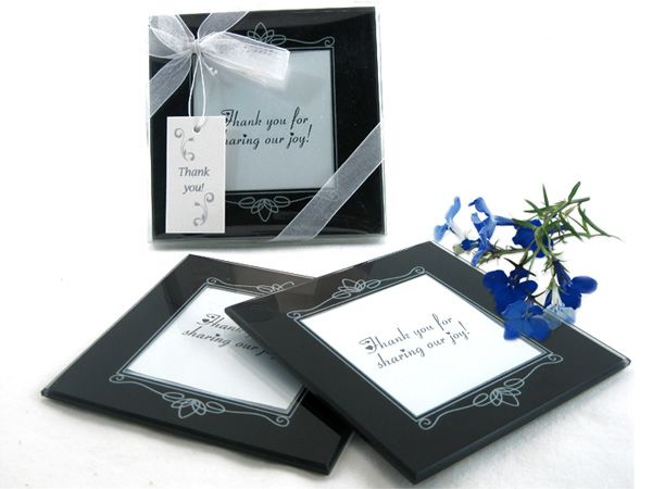 Memories Forever Glass Photo Coasters In Black Set Of 2