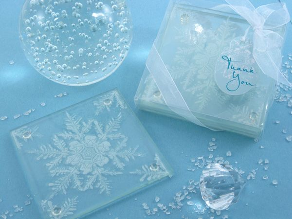 Shimmering Snow Crystal Frosted Snowflake Glass Coasters Set Of 2
