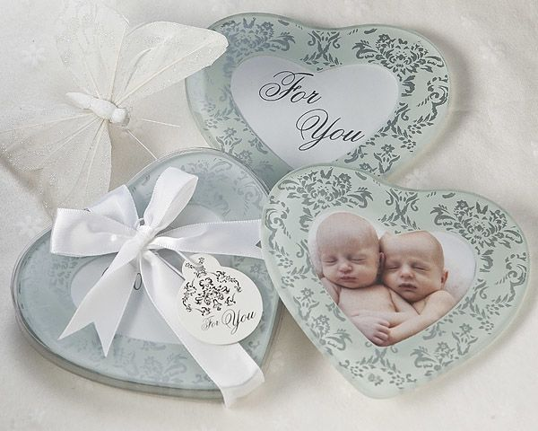Heartfelt Memories Frosted Heart Photo Coasters Set Of 2