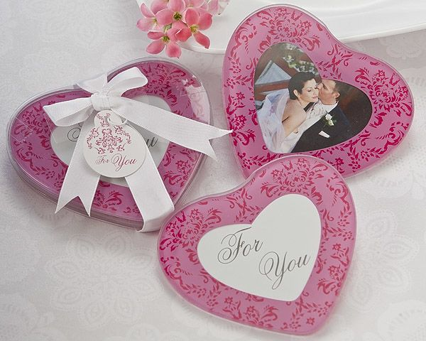 Pretty In Pink Heart Glass Photo Coasters Set Of 2
