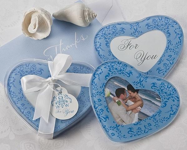 True In Blue Heart Glass Photo Coasters Set Of 2