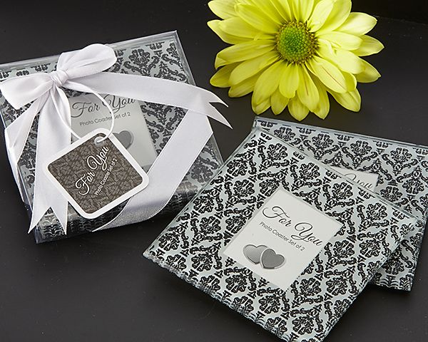 Classic Damask Black & White Photo Coaster Set Of 2