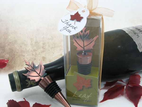 Bronze Elegance Fall Leaf Bottle Stopper In Designer Gift Box