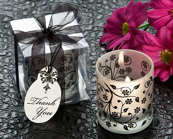 Frosted Elegance Black And White Tea Light Candle Holder Set Of 4