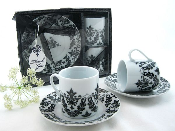 Dramatic Damask Espresso Cup Favor Set