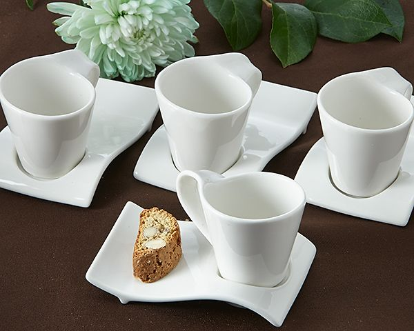 Swish Cup And Biscotti Plates Set Of 4