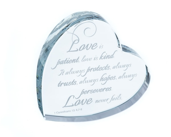 Love Is Patient... Heart Shaped Laser Etched Crystal Gift