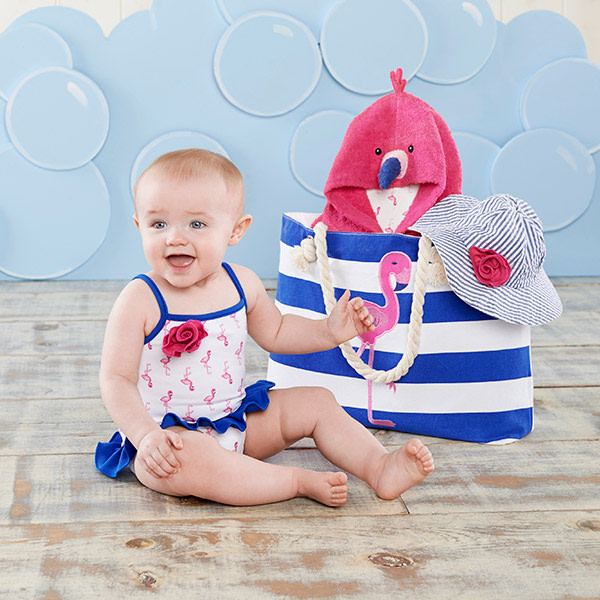 BA11052NA-Flamingo 4 Piece Nautical Gift Set With Canvas Tote For Mom---