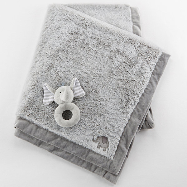 BA12043GR-Little Peanut Elephant Blanket And Rattle Set--