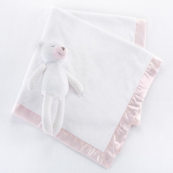 BA12055PK-Beary Sleepy Plush Plus Blanket For Baby-personalization. This adorable gift set features a plush teddy bear keepsake, who shares her blanket with baby for the sweetest dreams. Constructed of soft, washable polyester, this gift is sure to comfort baby and create unforgettable memories. Features and facts:White, short pile velour plush bear with a light pink nose. Bear is wrapped in a white velour blanket with a light pink satin trim and a white crown patch. Plush measures 4.88 x 3.34 x 11.22; Blanket measures 29.5 x 29.5 squareOptional personalization to blanket available. Packaged in bed-shaped box-Pink-
