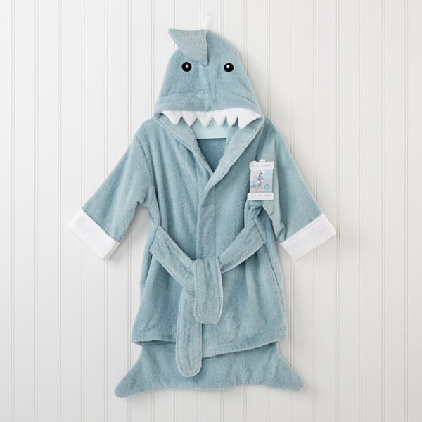 BA14020BL-Let The Fin Begin Shark Robe 12 18M-personalized, at an additional cost, with babys name Machine-wash and dry lowSize 12-18 months-Blue-
