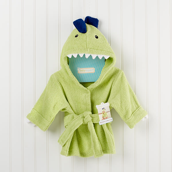 BA14021NA-Splash A Saurus Dinosaur Hooded Spa Robe-Personalization available for an additional chargeSize 0-9 months--