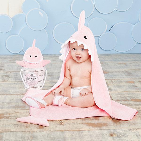 BA14037PK-Let The Fin Begin 4 Piece Bath Gift Set--Pink-