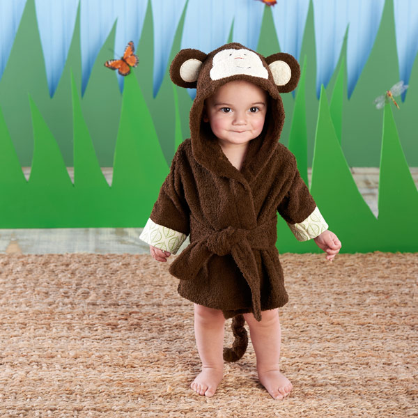 BA14042NA-Born To Be Wild Monkey Hooded Spa Robe-personalized. Features and facts:Jungle-joyful, chocolate-brown monkey hooded spa robe has brown-and-cream 3-D ears, with embroidered black eyes and smile, an embroidered orange nose, light green-and cream leaf-pattern cuffs, a chocolate-brown terry tie at the waist and a curly monkey tail on the backMachine-washable terryclothSize 0-9 monthsCan be personalized with embroidered monogram for an additional charge--