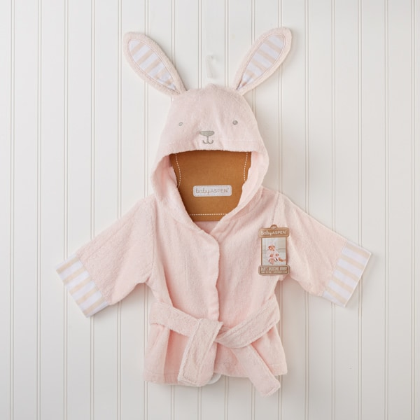 BA14043PK-Baby'S Bathtime Bunny Hooded Spa Robe-personalized, and baby girl will be wrapped up in delightful bunny style! Features and facts:Bunny-themed hooded bath robe from Baby Aspens Classic collection is light pink, with light pink and white-striped cuffs, a bunnys face with gray-beige embroidered features, big pink-and-white-striped bunny ears on the hood, a terry tie at the waist and a white pom-pom bunny tail on the back of the robeMachine-washable terryclothPersonalized embroidery available for an additional chargeSize 0-9 months--