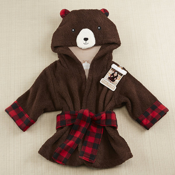 BA14051NA-Beary Bundled Hooded Robe-personalized with an ivory block initial monogram on the front right chest for an additional chargeMachine wash and drySize 0-9 monthsRobe measures 25 w x 22.5 h-Brown And Red-