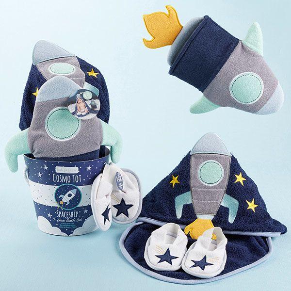 BA14058BL-Cosmo Tot Spaceship 4 Piece Bath Time Gift Set--