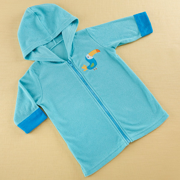 BA14061BL-Tropical Toucan Hooded Beach Zip Up-personalized with babys name or monogram on the right chest for an additional charge--