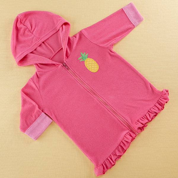 BA14061PK-Tropical Pineapple Hooded Beach Zip Up-personalized with your little ones name or initials for a custom gift shes sure to love. Features and facts:  Super soft fuchsia terry zip up hooded towel features light pink cuffs and a yellow pineapple embroidered applique on the left chest Machine-washable cotton/polyester blend, exclusive of decoration Measures 26.8 w x 24.4 h Size 0-9 months Can be personalized with babys name or monogram on the right chest for an additional charge--