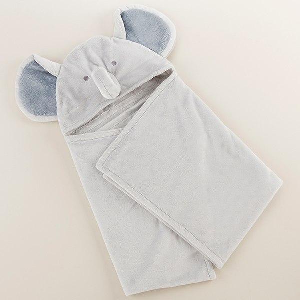 BA14066GR-Little Peanut Elephant Hooded Blanket--Green-