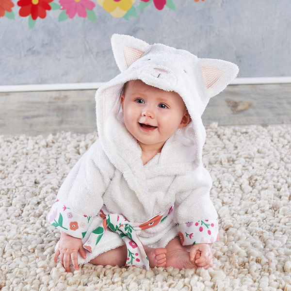 BA14086WT-Cat Hooded Robe-personalize it to make it your own. Whats more purrrrfect than that? Features and facts:White terry cloth robe with decorative floral print elements features a cat tail at the bottom, with embroidered cat facial features and ears on the hood in pink and grey.Machine wash cold, tumble dry low.Appropriate for size 0-9 months.Measures 11.4 w x 0.8 d x 26.8 h.-White-
