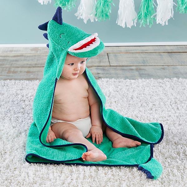 BA14087BL-Dino Baby T Rex Hooded Towel--Blue-