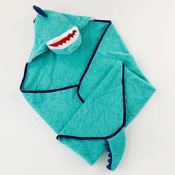 Dino Baby T Rex Hooded Towel--Blue-