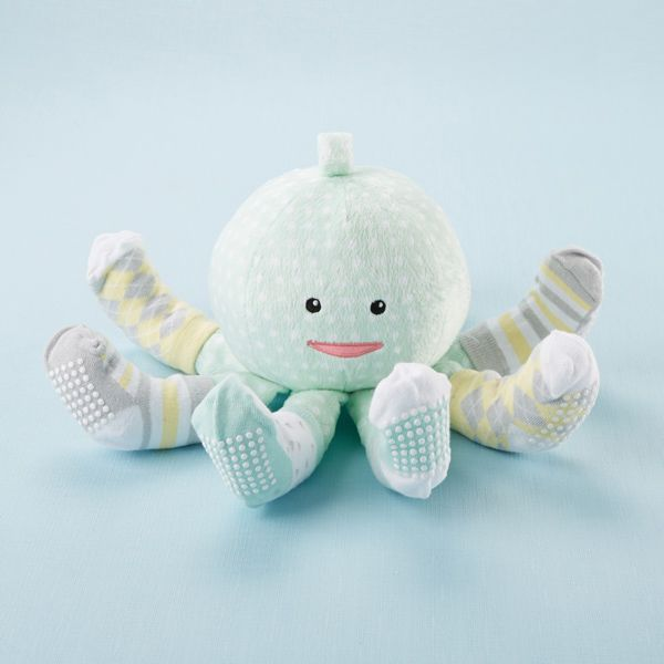 BA15004GN-Sock T. Pus Octopus Plush Plus Four Pairs Of Socks For Baby Mint---