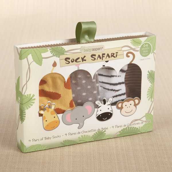 BA15011AS-Sock Safari Four Pair Animal Themed Sock Set---