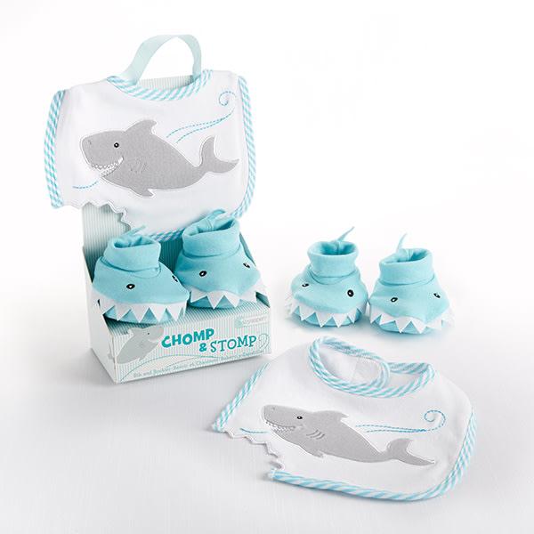 BA15030BL-Chomp & Stomp Shark Bib And Booties Gift Set--Blue-