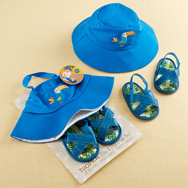 BA15189BL-Tropical Beach Hat And Flip Flop Gift Set---
