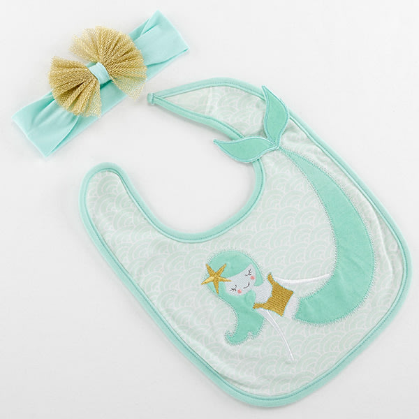 BA15194NA-Simply Enchanted Mermaid Bib And Headband Set---