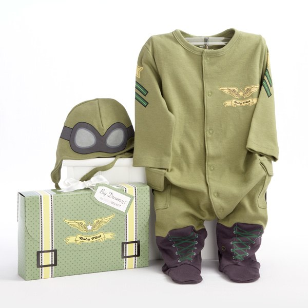 BA16010PL-Big Dreamzzz Baby Pilot 2 Piece Layette Set-Personalization is available at an additional cost Enter monogram as first, last, middle - for example, if the name is Mia Lily Jones, enter MJLGift box resembles a pilots travel suitcase--olive green with yellow straps and black buckles, a white-satin bow at the top and a coordinated Big Dreamzzz tagGift box measures  6 h x 9 1/4 w x 2 d-