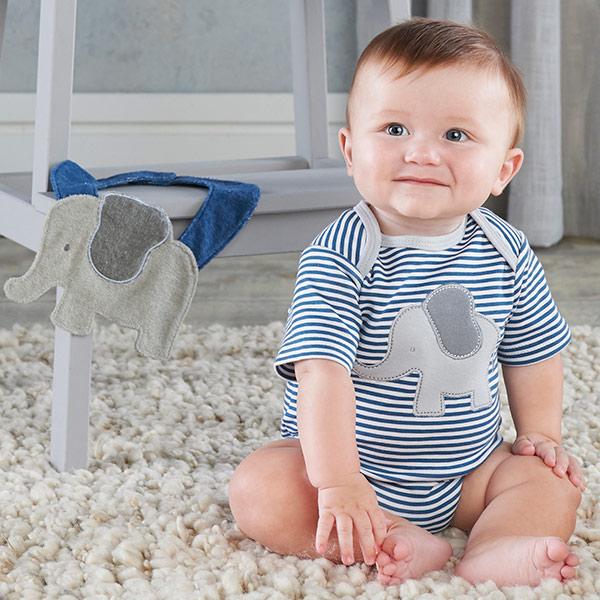 BA16098BL-Little Peanut Elephant Layette And Bib Gift Set--Blue-