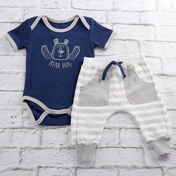 BA16101BL-Trendy Baby Bear Hug 2 Piece Outfit