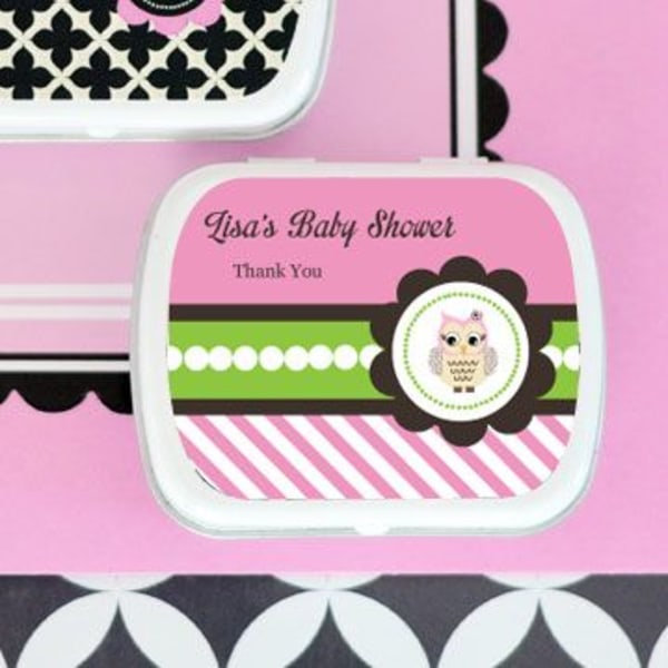 EB1049PWL-Pink Owl Personalized Mint Tins