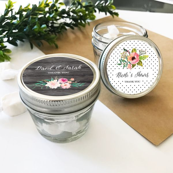 EB2392GDN-Personalized Floral Garden Small 4Oz Mason Jars