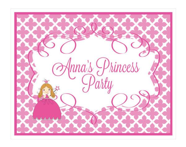 EB3003PRP-Princess Party Sign