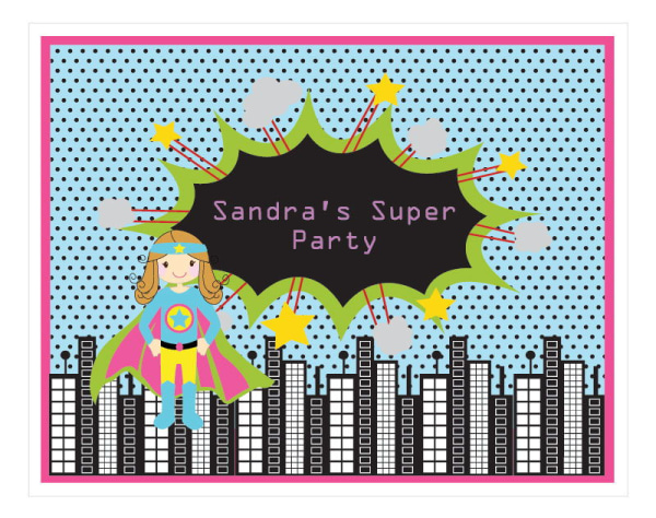 EB3003SHG-Super Hero Girl Birthday Party Sign