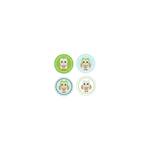 EB3004BWL-Blue Owl Decorative Mini Stickers Set Of 32