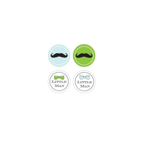 EB3004LM-Little Man Party Decorative Mini Stickers Set Of 32