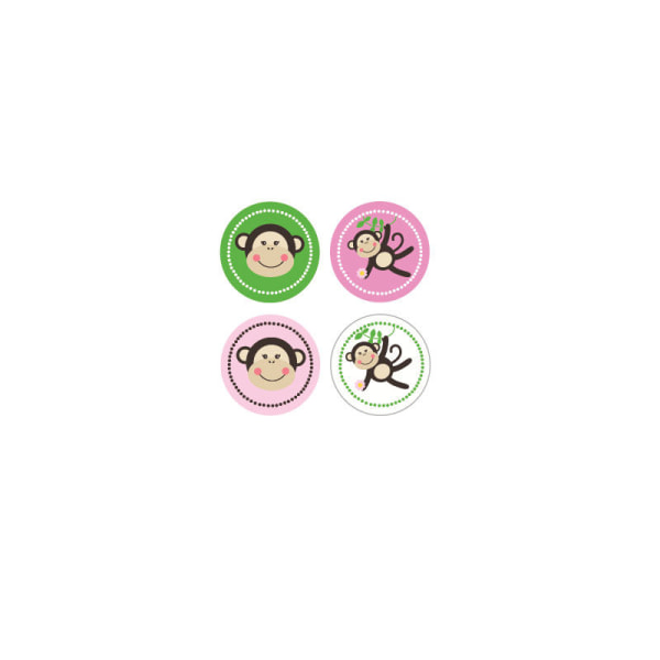 EB3004PM-Pink Monkey Party Decorative Mini Stickers Set Of 32